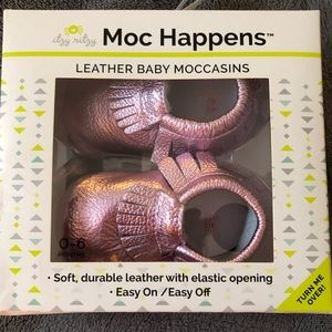 Other - New! Moc Happens Leather Baby Moccasins. Size 0-6m